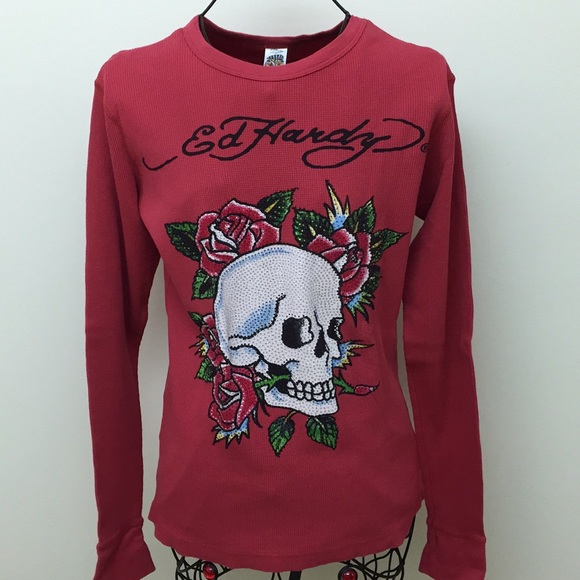Ed Hardy 100/% Cotton Kids and Toddlers Thermal Long Sleeve T-Shirt